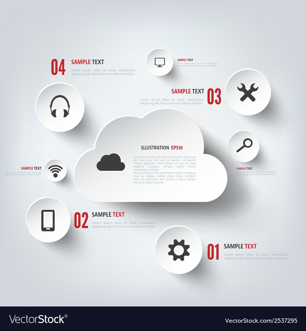 Cloud computing background with web icons social vector | Price: 1 Credit (USD $1)