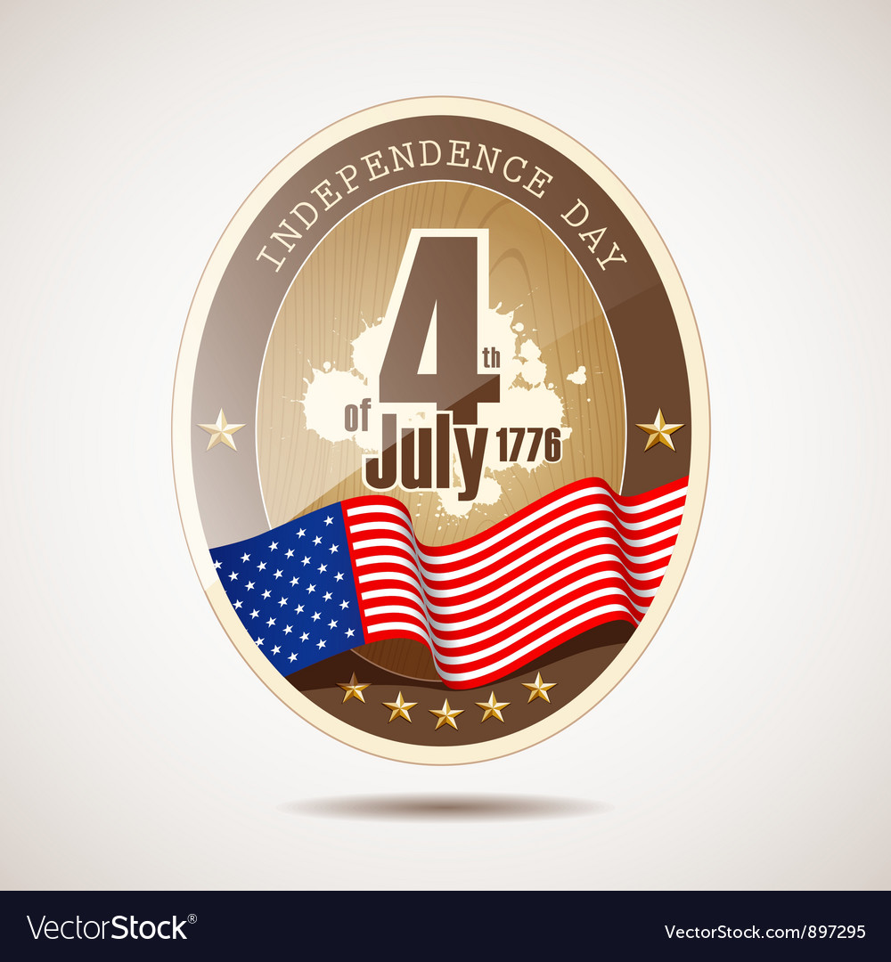 Independence day label retro classic vector | Price: 1 Credit (USD $1)