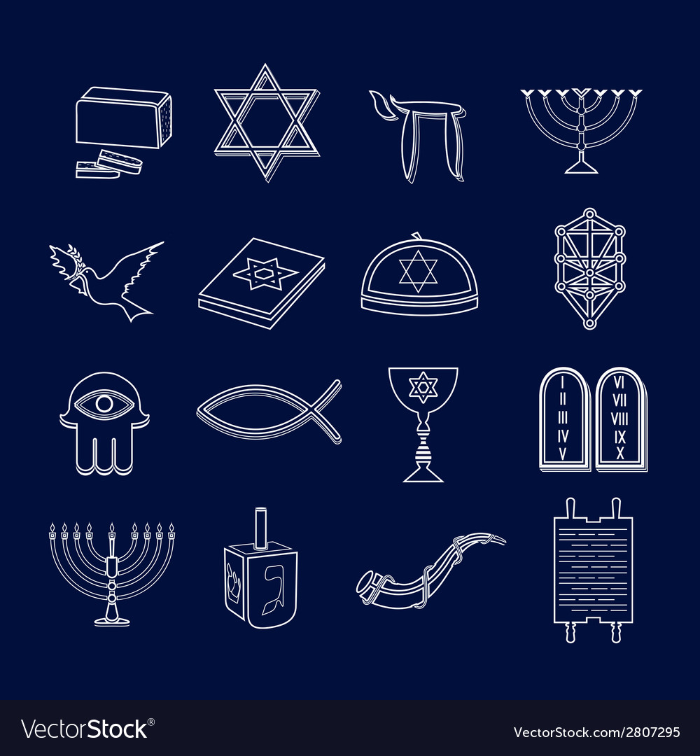 Judaism icons set outline vector | Price: 1 Credit (USD $1)