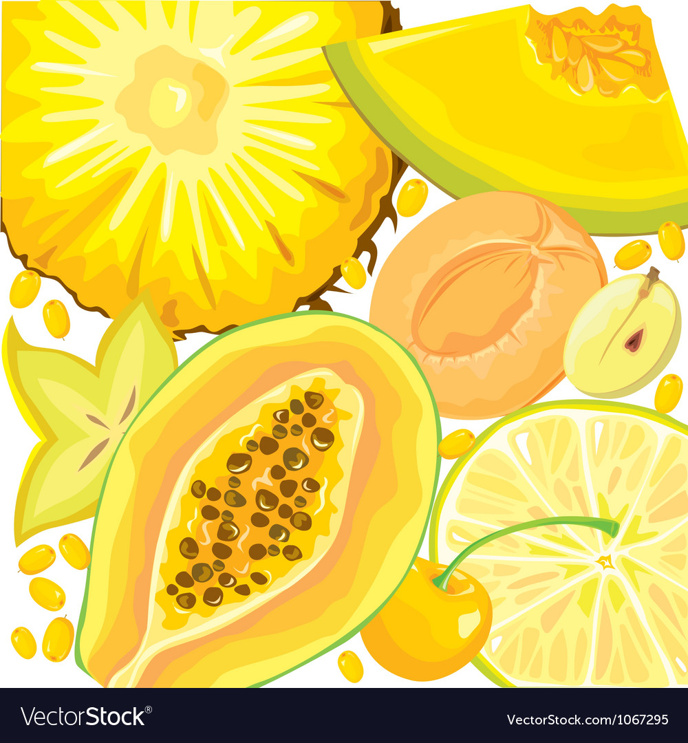 Mix yellow fruits and berries vector | Price: 3 Credit (USD $3)