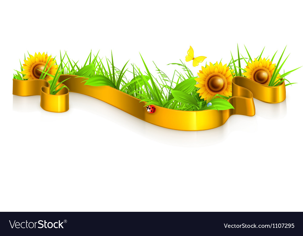 Ribbon in the grass vector | Price: 3 Credit (USD $3)