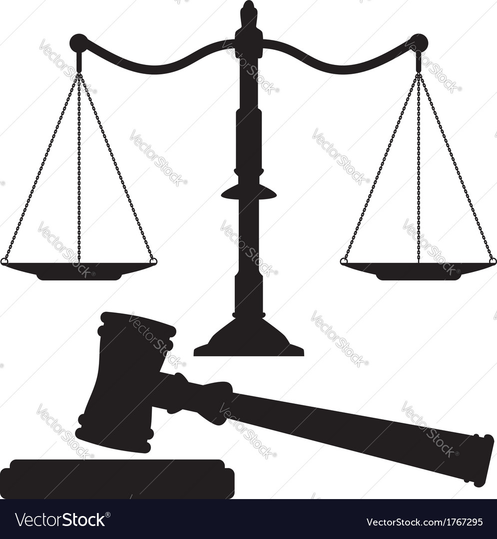 Scales of justice and gavel vector | Price: 1 Credit (USD $1)