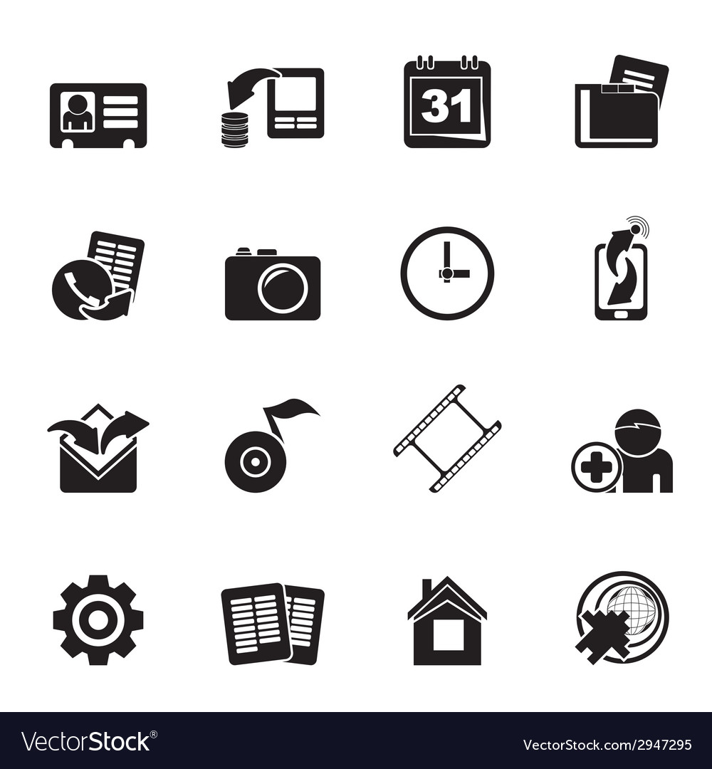 Silhouette mobile phone menu icons vector | Price: 1 Credit (USD $1)