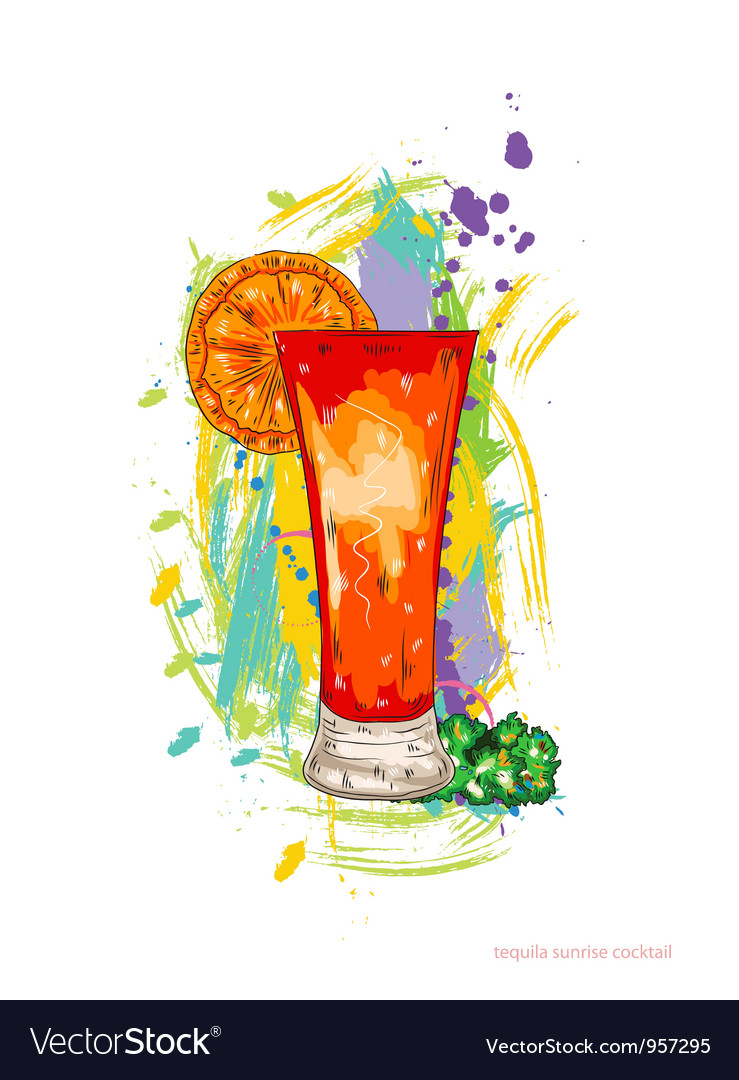 Tequila sunrise cocktail vector | Price: 1 Credit (USD $1)