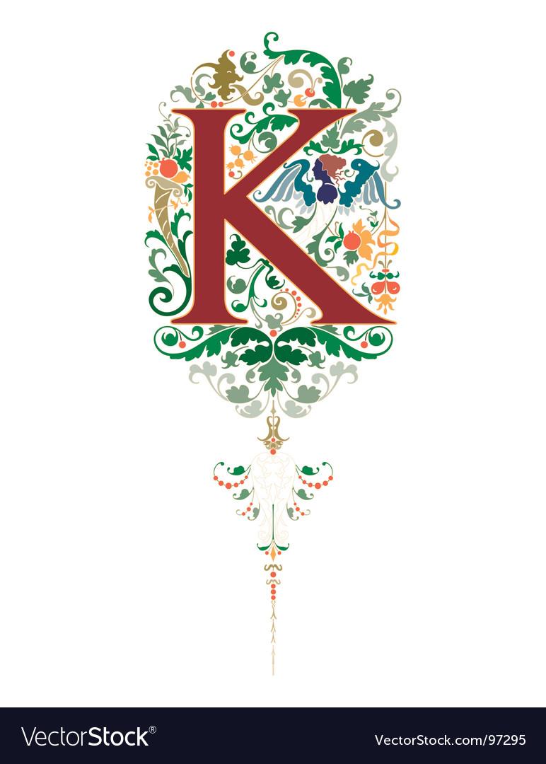 Vintage letter k vector | Price: 1 Credit (USD $1)