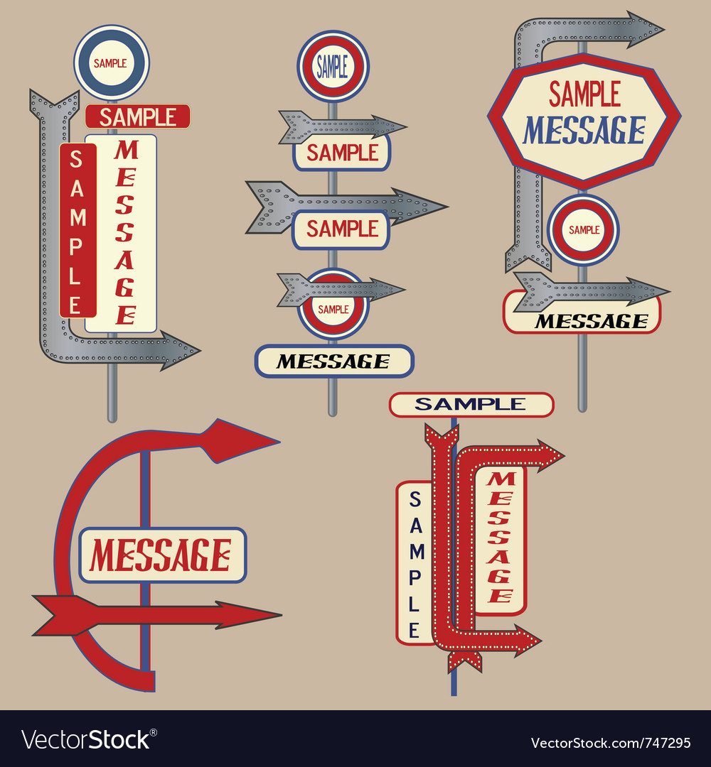Vintage signpost elements vector | Price: 1 Credit (USD $1)