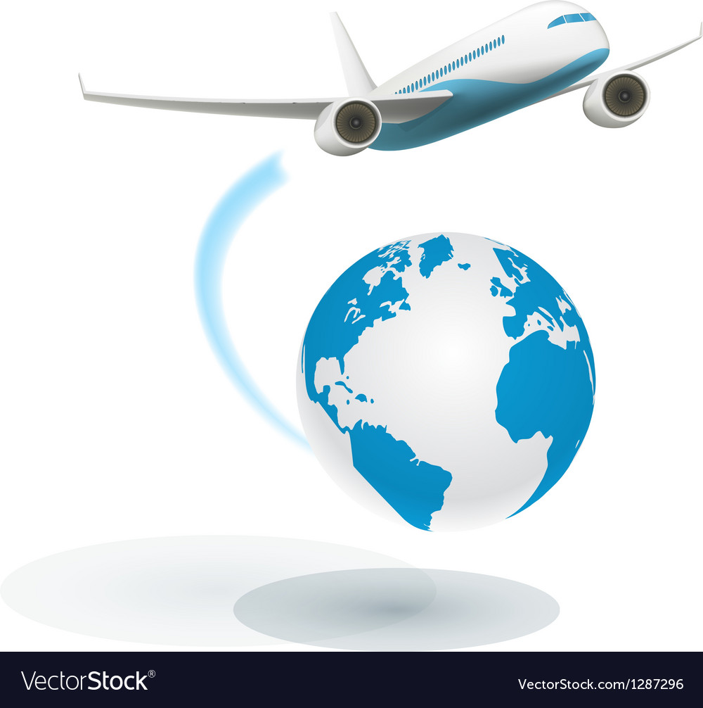 Airplane flying around the globe vector | Price: 3 Credit (USD $3)