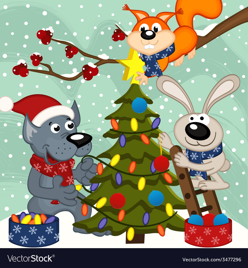 Animals decorating christmas tree vector | Price: 1 Credit (USD $1)