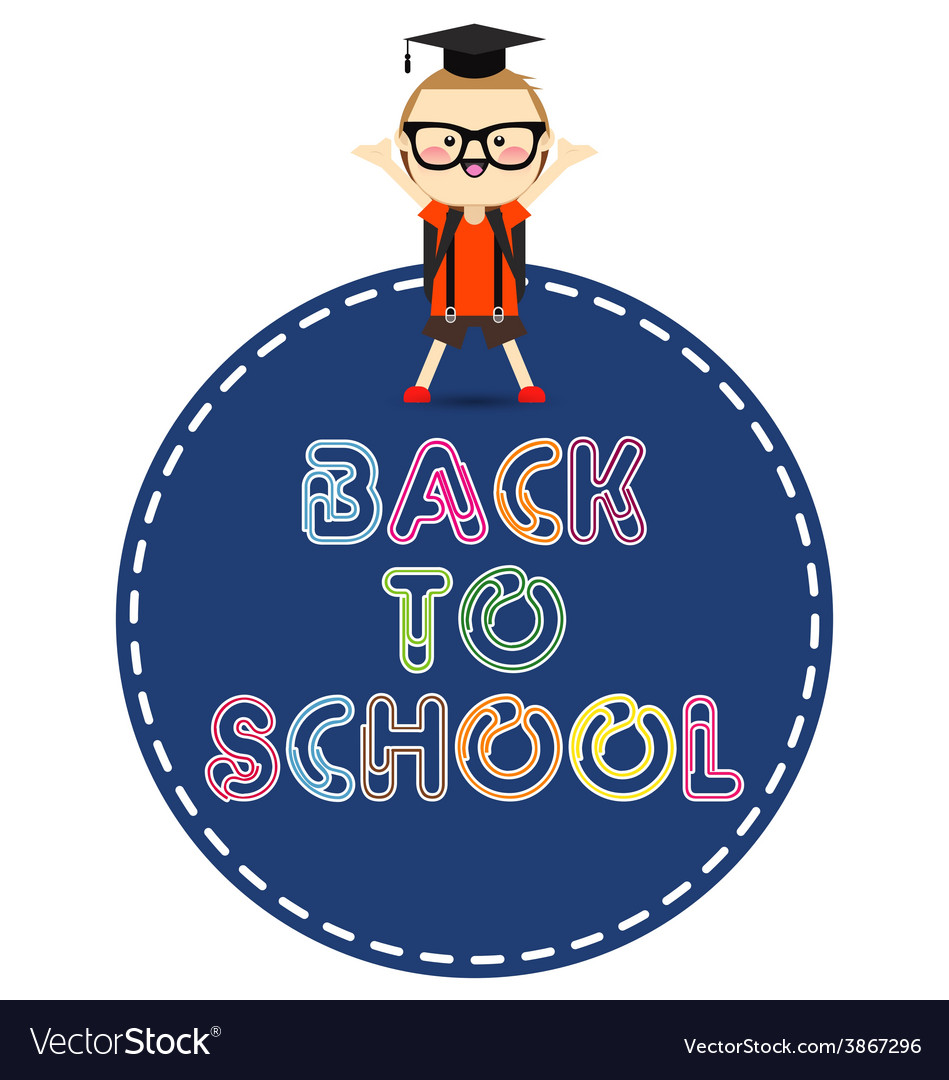 Back to school message with school children vector | Price: 1 Credit (USD $1)