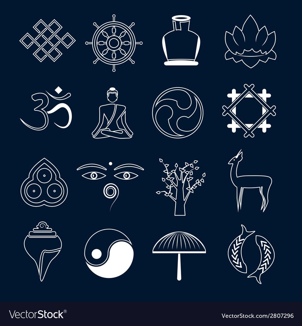 Buddhism icons set outline vector | Price: 1 Credit (USD $1)