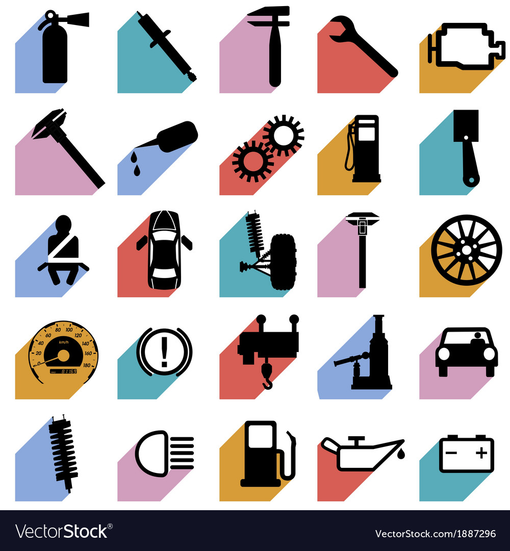 Collection flat icons with long shadow car symbols vector | Price: 1 Credit (USD $1)