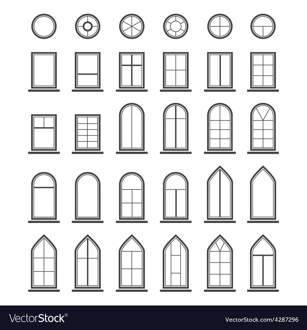 Different types of windows eps10 vector | Price: 1 Credit (USD $1)