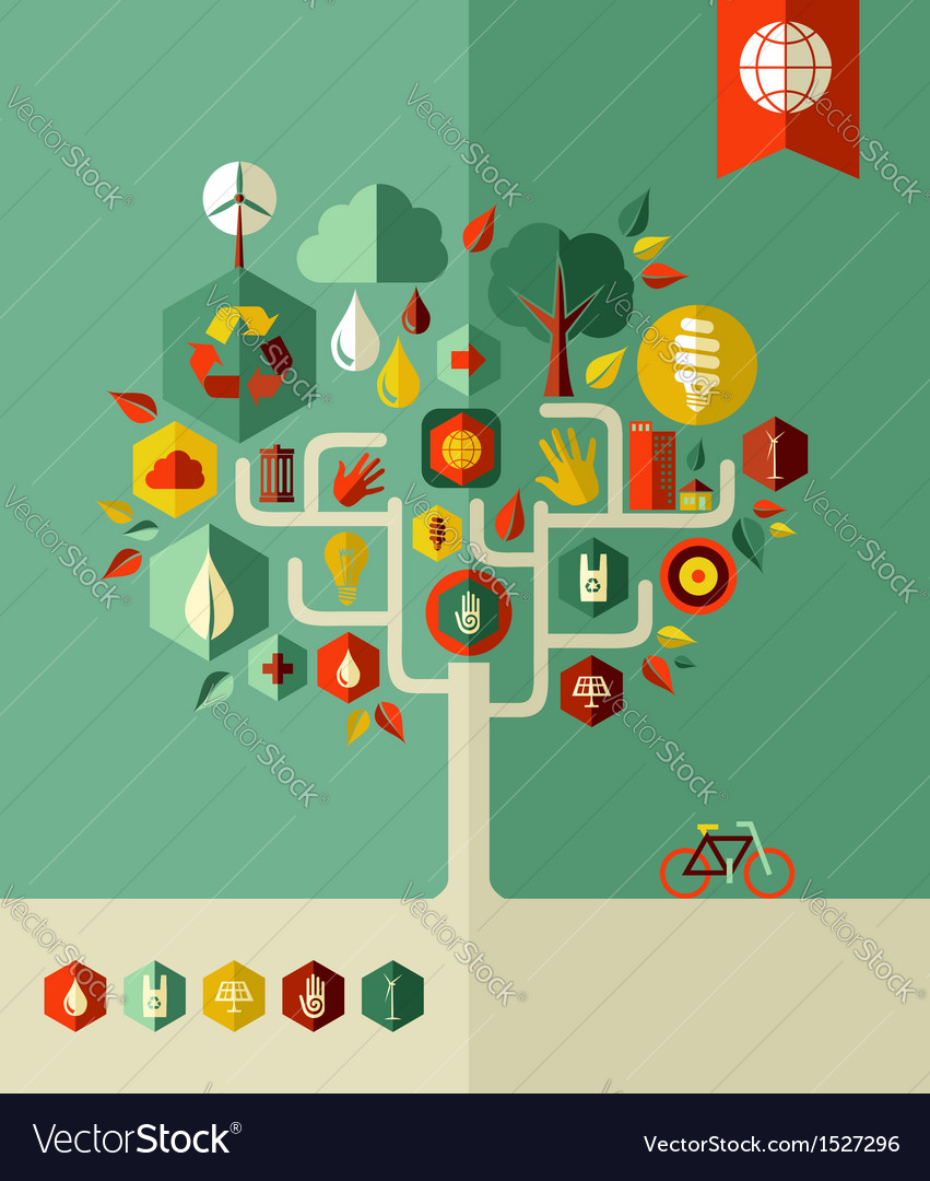 Eco conservation city tree vector | Price: 1 Credit (USD $1)
