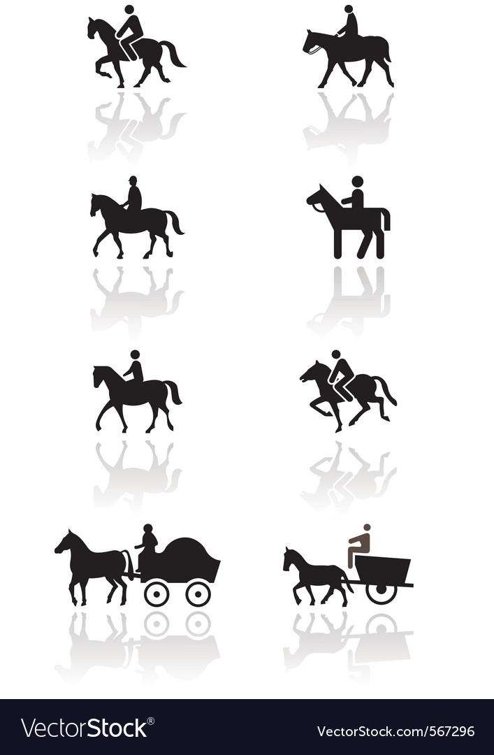 Horse or pony symbol set vector | Price: 1 Credit (USD $1)