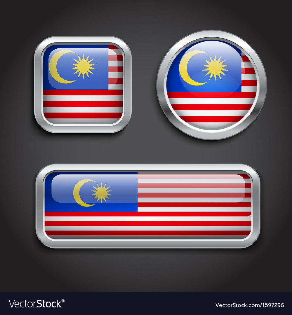 Malaysia flag glass buttons vector | Price: 1 Credit (USD $1)