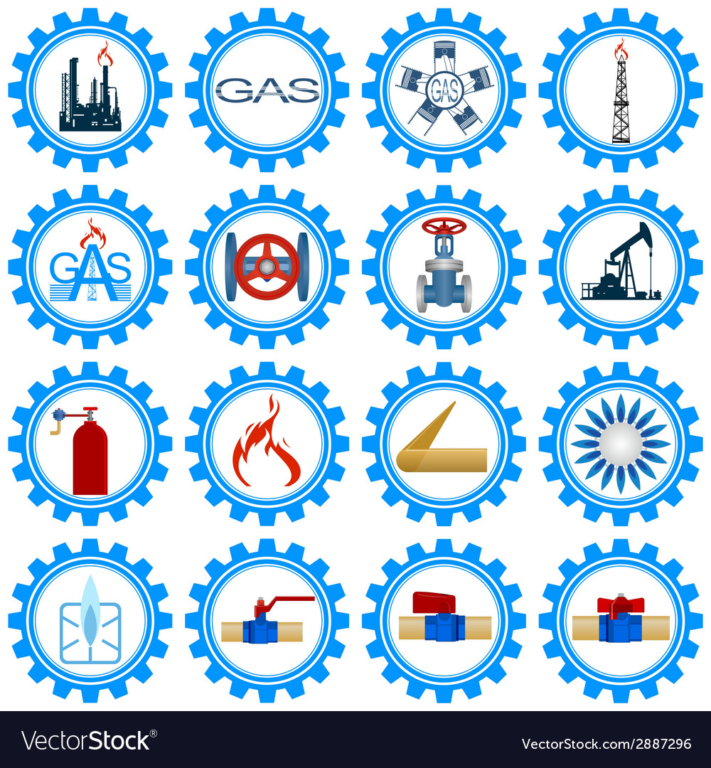 Set icons gas production industry vector | Price: 1 Credit (USD $1)