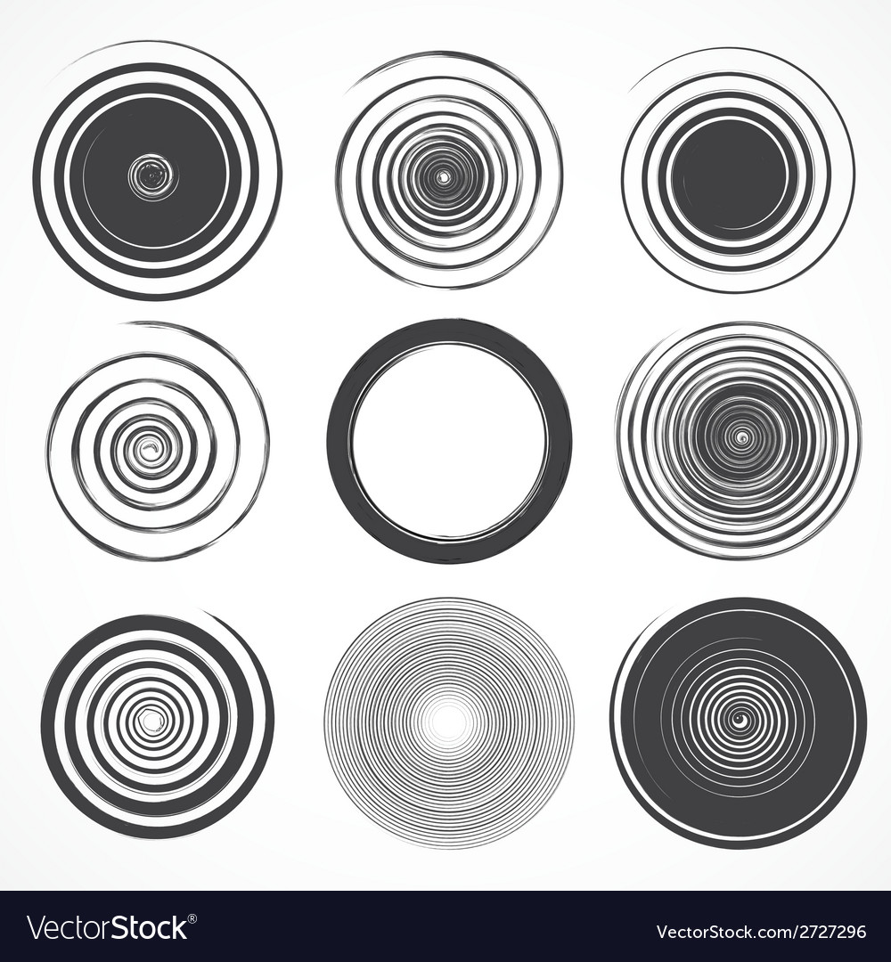 Set of grunge circle brush strokes vector | Price: 1 Credit (USD $1)