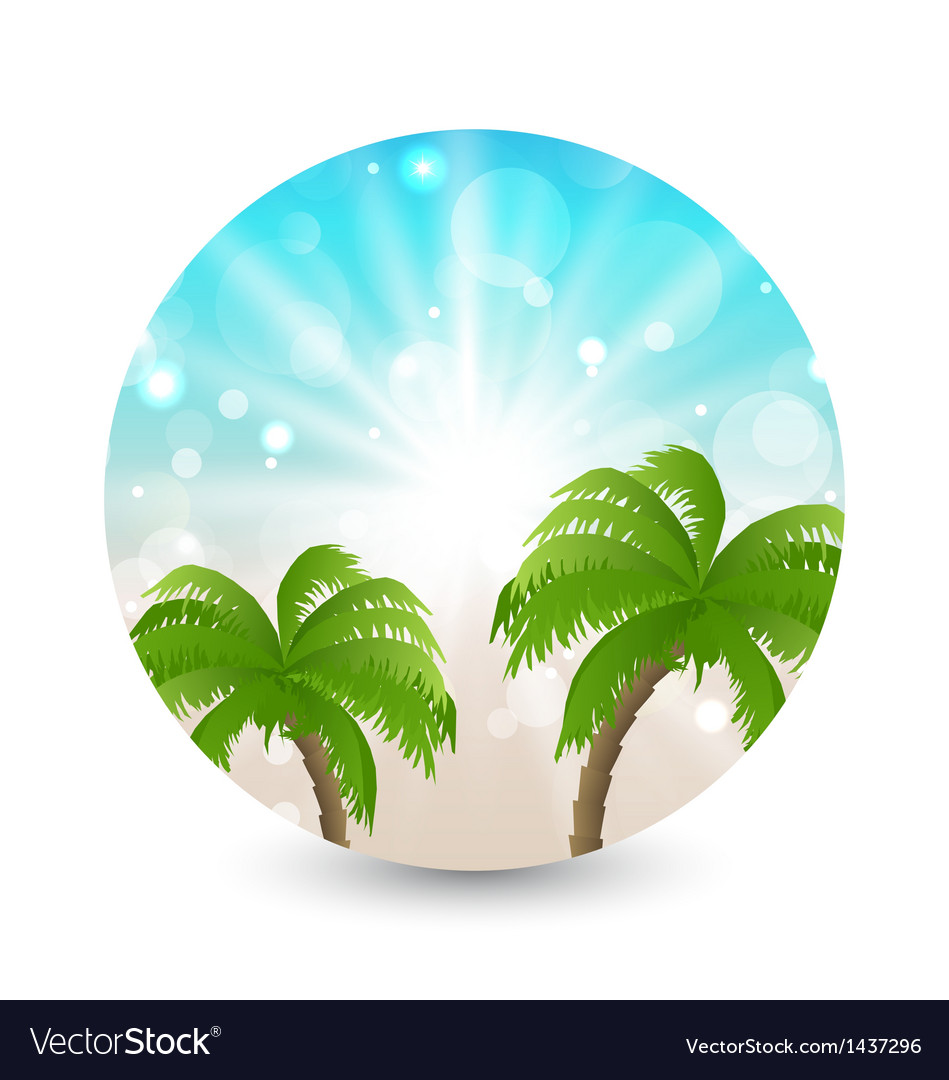Summer holiday picture with sunlight and palm leav vector | Price: 1 Credit (USD $1)