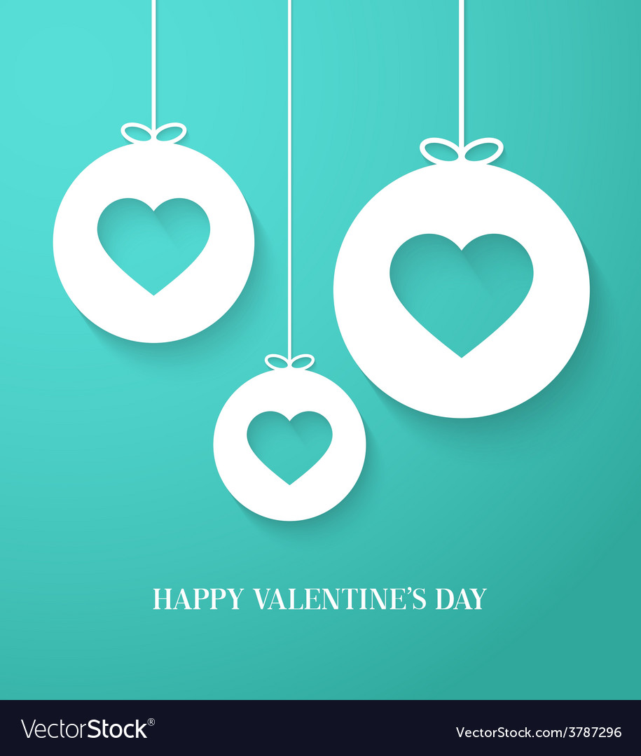 Valentines day card with hanging hearts vector | Price: 1 Credit (USD $1)