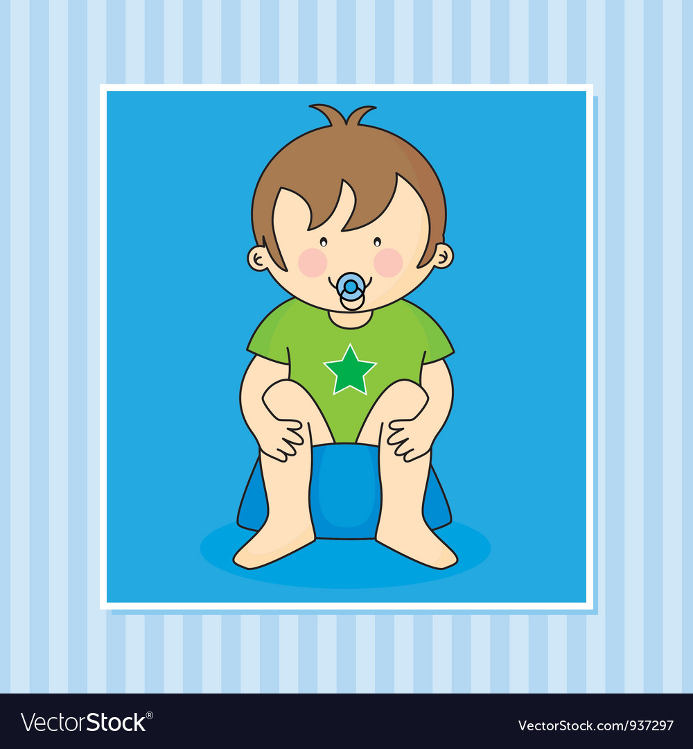 Baby boy sitting on the potty vector | Price: 3 Credit (USD $3)