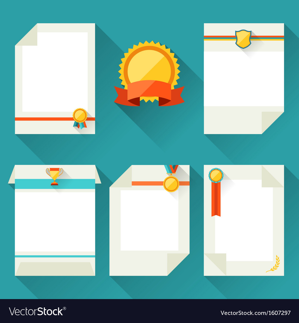 Certificate templates with trophies and awards vector | Price: 1 Credit (USD $1)