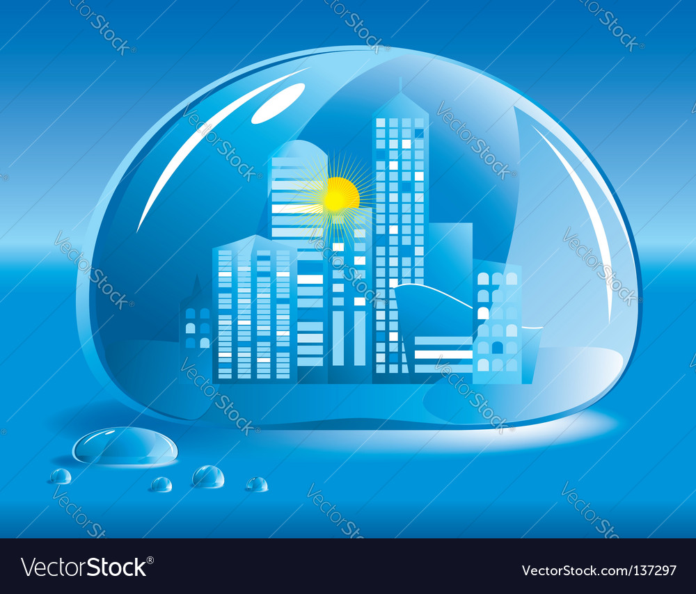 City in a drop of water vector | Price: 1 Credit (USD $1)