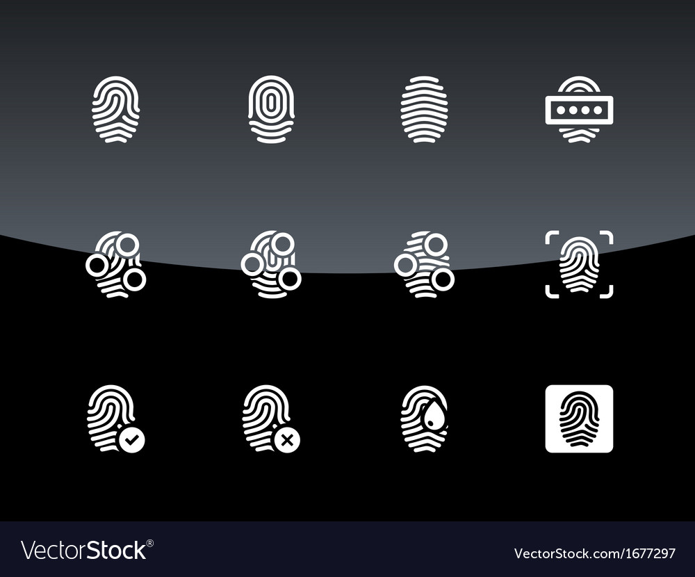 Fingerprint icons on black background vector | Price: 1 Credit (USD $1)
