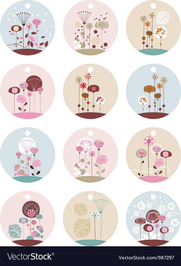 Floral labels vector | Price: 3 Credit (USD $3)