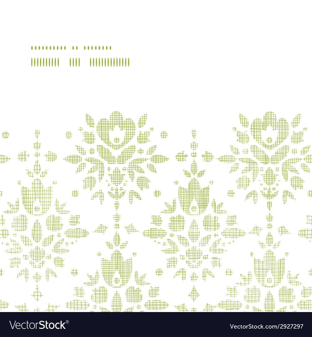 Green textile damask flower horizontal frame vector | Price: 1 Credit (USD $1)