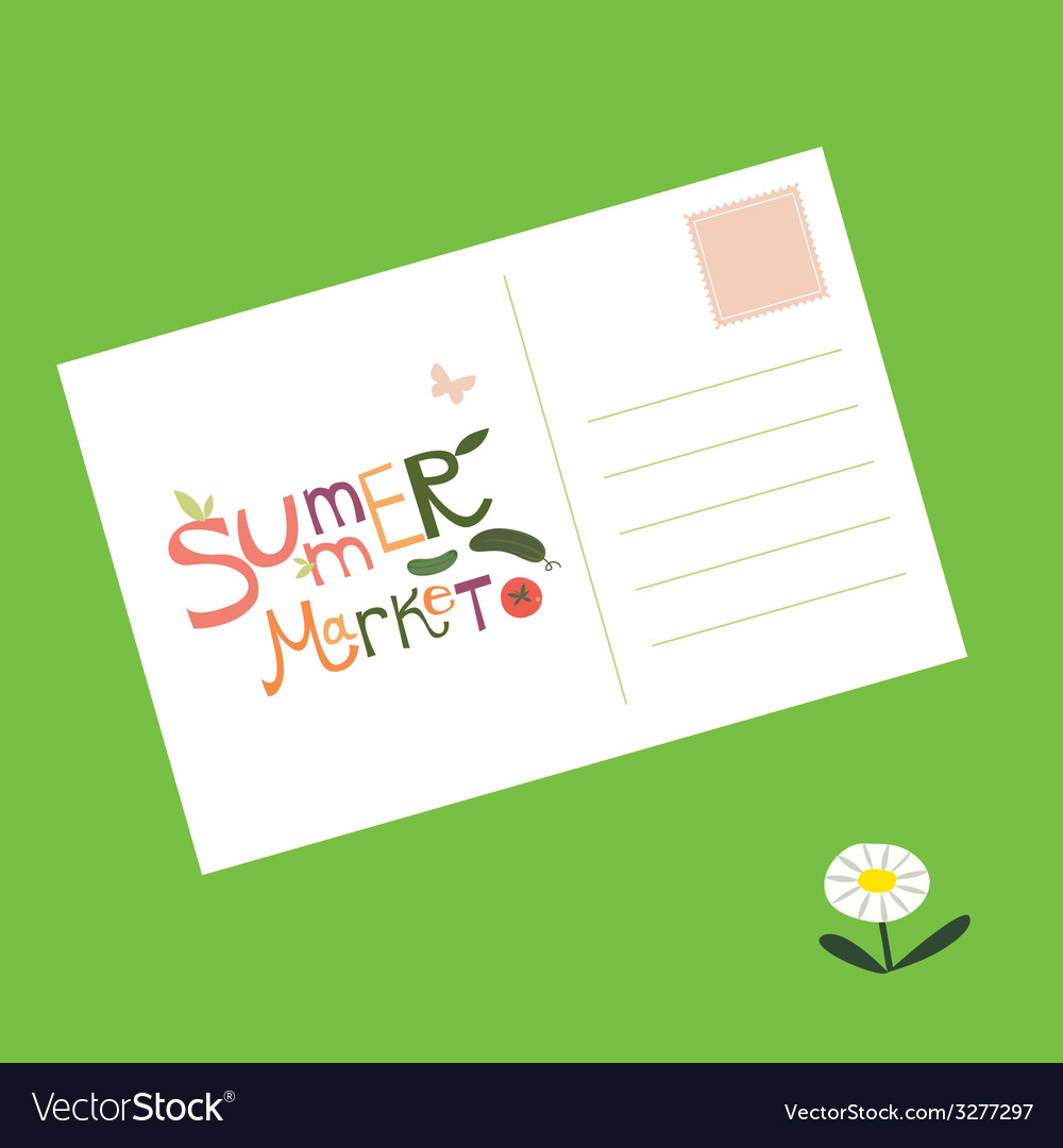 Post card summer market invitation vector | Price: 1 Credit (USD $1)