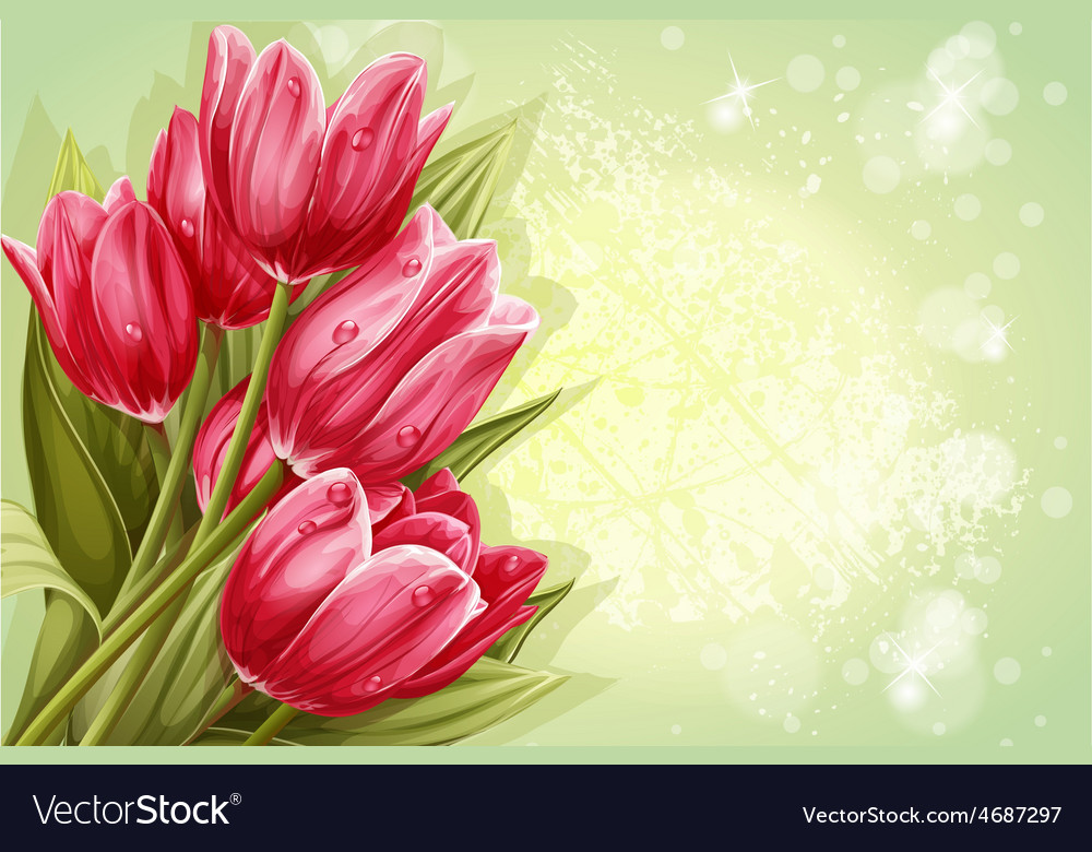 Preview background bouquet of pink tulips for your vector   Price: 3 Credit (USD $3)