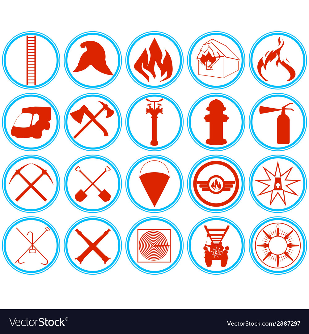 Set of firefighters icons vector | Price: 1 Credit (USD $1)