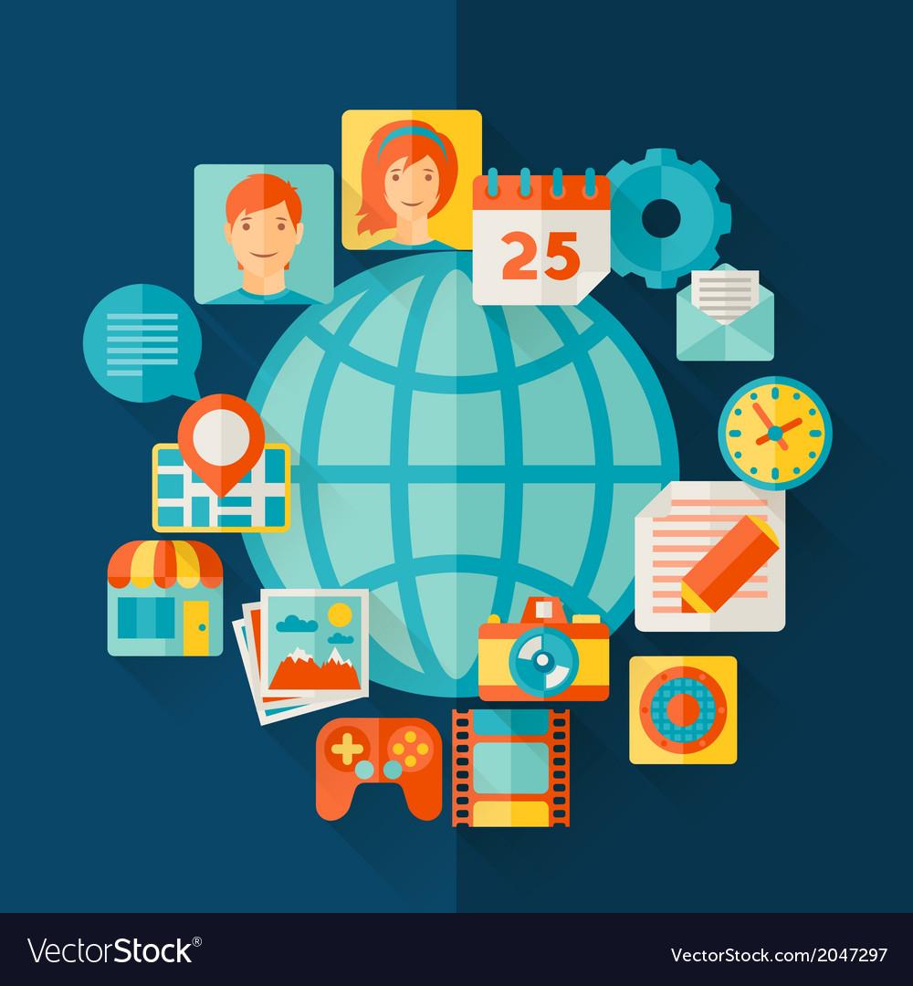Social media concept in flat design style vector | Price: 1 Credit (USD $1)