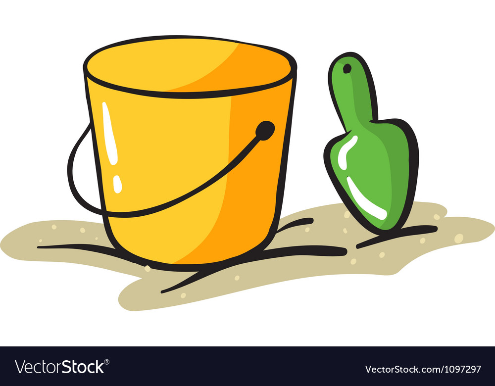 Yellow bucket and scraper vector | Price: 1 Credit (USD $1)