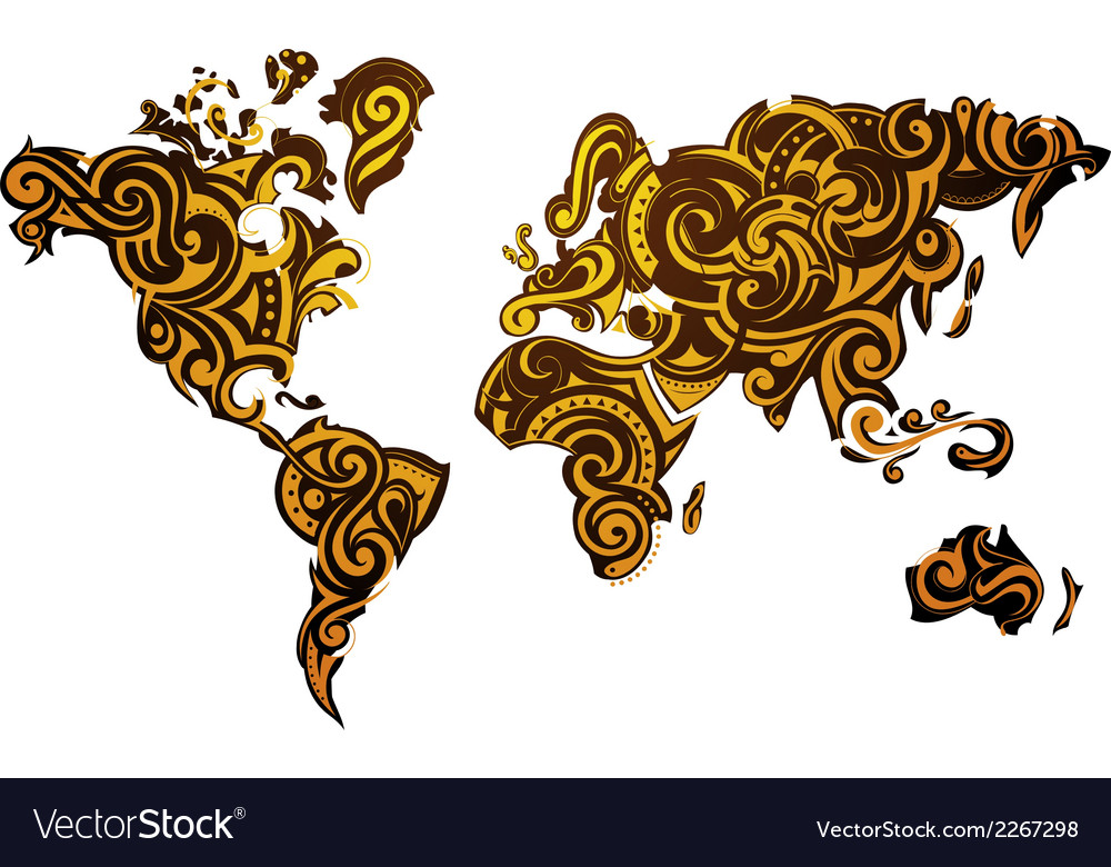 Abstract world map design vector | Price: 1 Credit (USD $1)