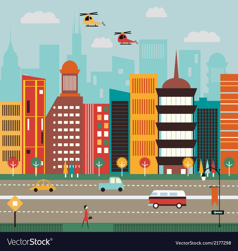 Big city street vector | Price: 1 Credit (USD $1)