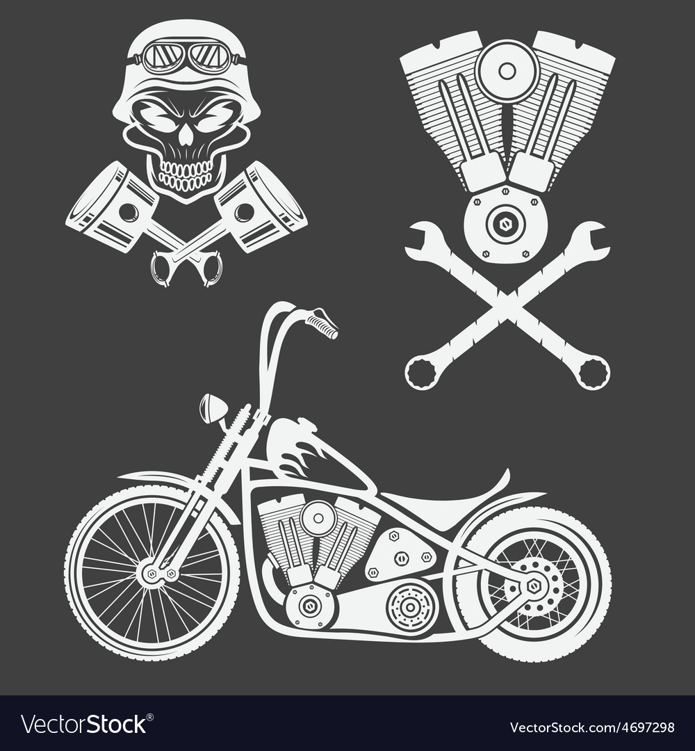 Bikers theme labels with motorbikeskullengine and vector | Price: 1 Credit (USD $1)