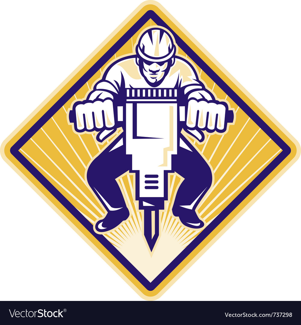 Construction worker jackhammer vector | Price: 1 Credit (USD $1)