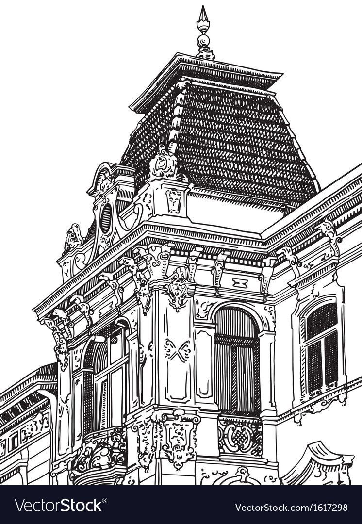 Drawing of lviv ukraine historical building vector | Price: 1 Credit (USD $1)
