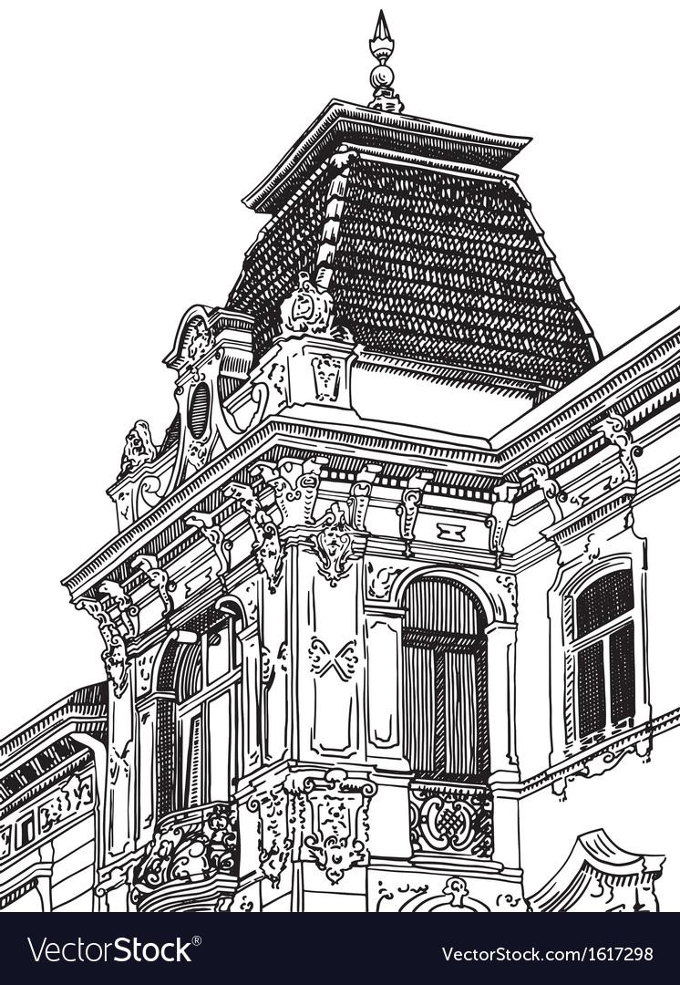 Drawing of lviv ukraine historical building vector | Price: 1 Credit (USD $1)