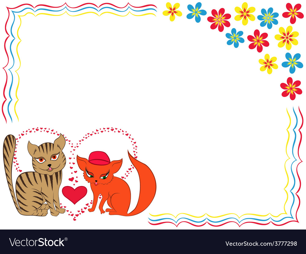Enamoured cat and kitty on valentine greeting card vector | Price: 1 Credit (USD $1)