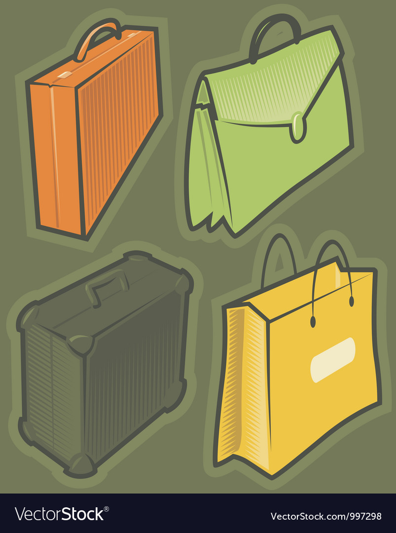 Green icons with bags vector   Price: 1 Credit (USD $1)
