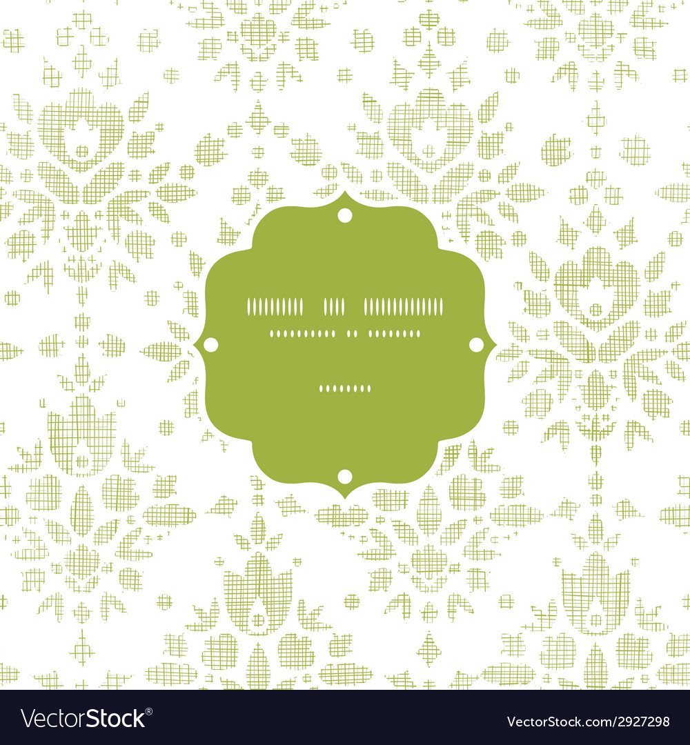 Green textile damask flower frame seamless pattern vector | Price: 1 Credit (USD $1)