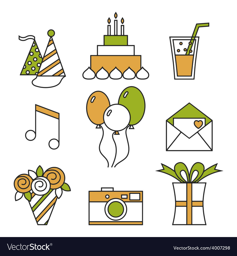 Holiday icons happy birthday set vector | Price: 1 Credit (USD $1)