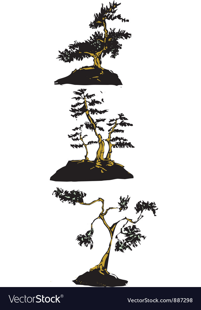Japanese bonsai trees vector | Price: 1 Credit (USD $1)