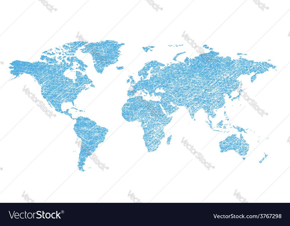 Light blue grungy map of the world - continents vector | Price: 1 Credit (USD $1)