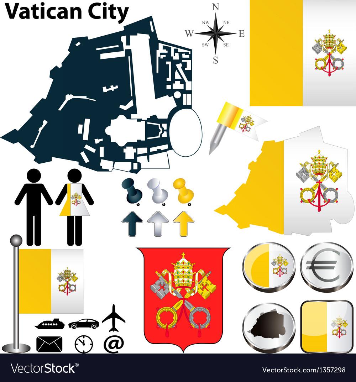 Map of vatican city vector | Price: 1 Credit (USD $1)