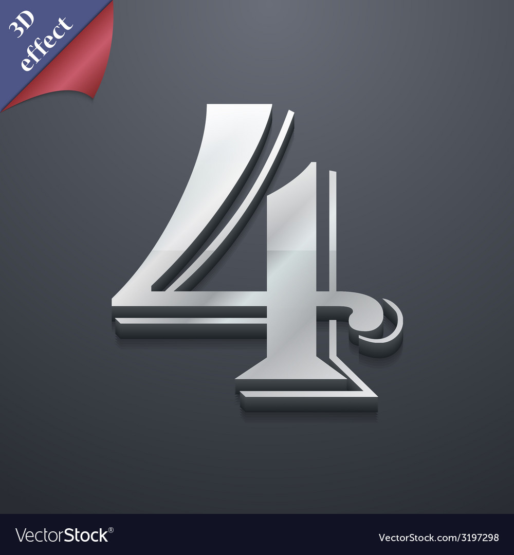 Number four icon symbol 3d style trendy modern vector   Price: 1 Credit (USD $1)
