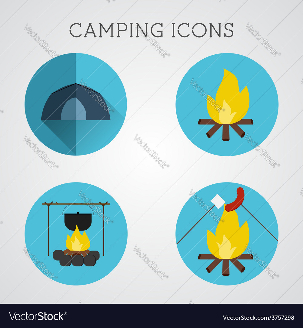 Set of camping symbols and icons flat design on vector   Price: 1 Credit (USD $1)