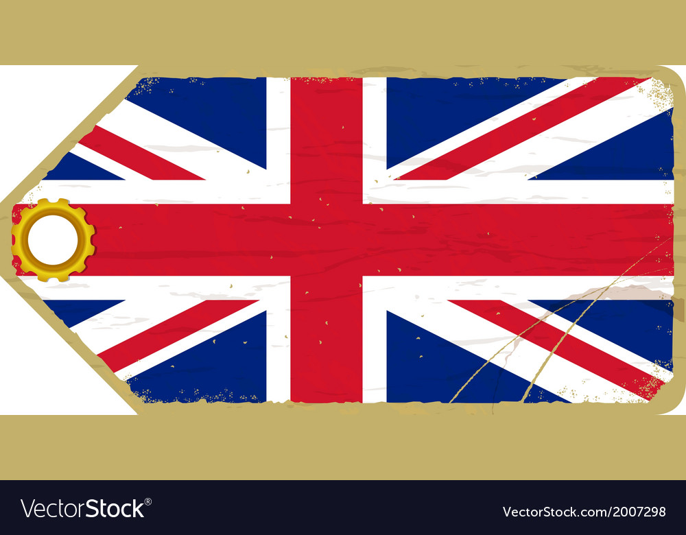 Vintage label with the flag of united kingdom vector | Price: 1 Credit (USD $1)